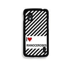 Love Heart Rhinoceroses Google Nexus 4 Case - Fits Nexus 4
