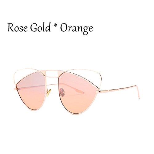 Grande Ojo De Sombras De Hueco Señoras Gafas Orange Sexy Naranja Gafas Gato De C4 Rose TIANLIANG04 De Gafas Gradiente Lujo Rosa Uv Sol C4 Mujer Bastidor ZIWOP0
