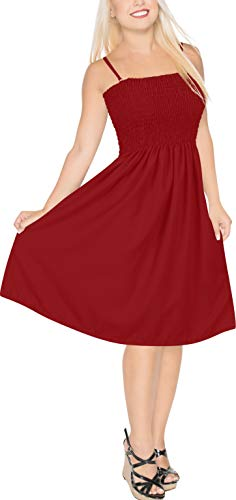 LA LEELA Women's Beach Tube Prom Party Cocktail Dress for Women US 0-14 Red_H99