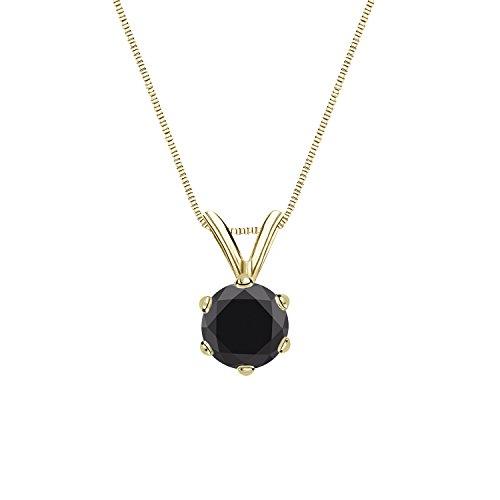 14k Yellow Gold 6-Prong Basket Round-cut Black Diamond Solitaire Pendant (3/4 cttw, Black)