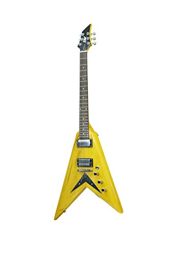 ivy IFV-200 Flying V Solid-Body Electric Guitar, Trans Amber