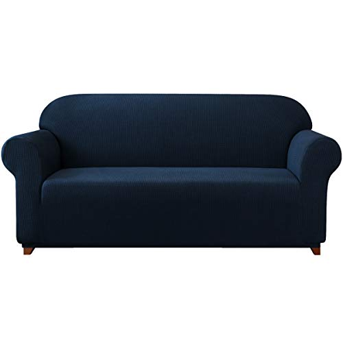 subrtex 1-Piece Jacquard high Stretch Couch slipcover, Furniture Protector for Settee Spandex Washable 3 Seater Cushion Cover Coat (Sofa, Navy), Large