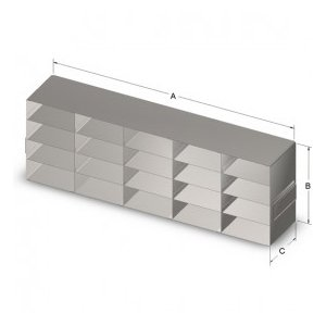 Crystal Technology UF-542 Standard Freezer Rack for 2'' Boxes, Stainless Steel, 5 x 4 Cap