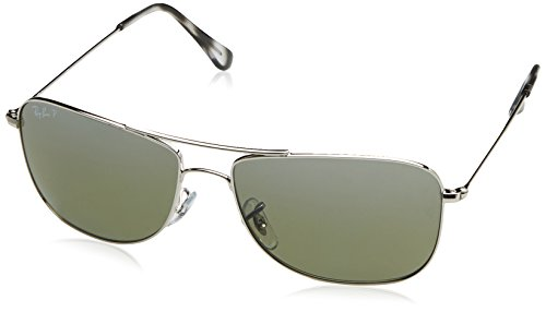 Ray-Ban RB3543 Chromance Mirrored Aviator Sunglasses, Shiny Silver/Polarized Silver Mirror, 59 mm (3447 Ban Ray Blue)