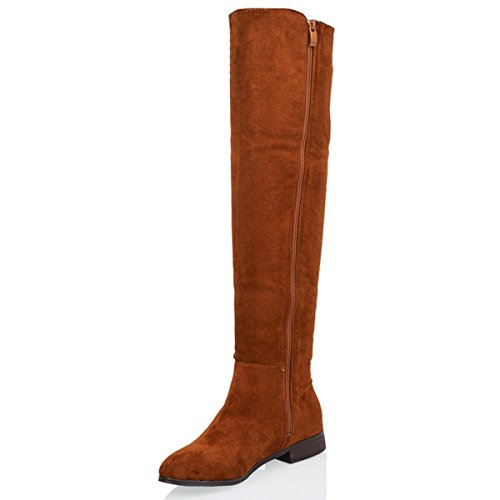 ESSEX GLAM Womens Over The Knee Boots Comfy Casual Flat Boots Tan Faux Suede JSst0sB
