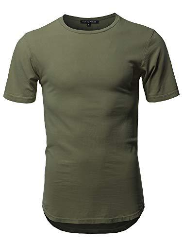 Basic T Shirt Casual Vintage Scoop Bottom Tee Olive L