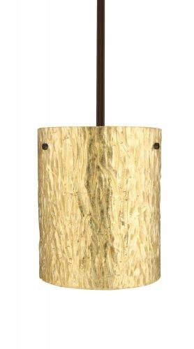 Besa Lighting 1TT-4006GS-BR 1X100W A19 Tamburo 8 Pendant with Stone Gold Foil Glass, Bronze Finish