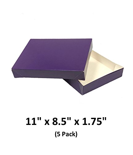 Grape Apparel Decorative Gift Boxes With Lids For Clothing and Gifts 11x8.5x1.75 (5 Pack)   MagicWater Supply