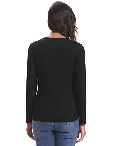Knit donna Nero Cotton Chic traspirante Sport estivi Scollatura V T a corte Top Bottoni Scollo Maniche Top Stretch da Maglietta 5UqRa