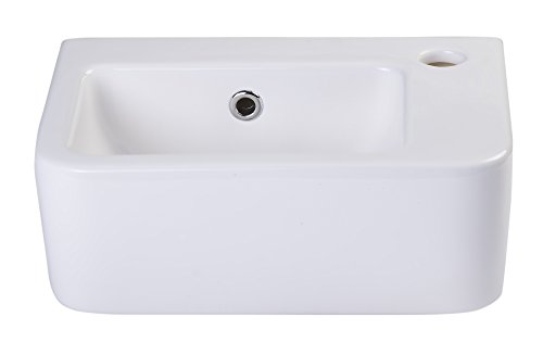 ALFI brand AB101 Small Wall Mounted Ceramic Bathroom Sink Basin, White