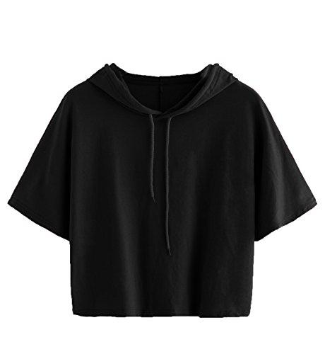SweatyRocks Women's Short Sleeve Casual T-shirt Hooded Drawstring Cotton Tee Black S