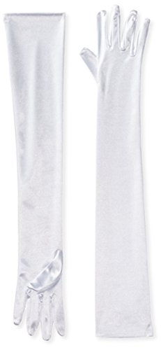 Be Wicked Women's Long Spandex Gloves, White, 57cm ()
