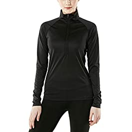 TSLA Women's Half Zip HyperDri Track Pullover Running Cool Dry Active Sport Shirt Top
