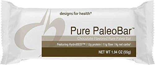 Designs for Health Pure PaleoBar - Chocolate Paleo Bone Broth Protein Bar, 9 Net Carbs + 12g Protein from Bone Broth Isolate + Hemp + Pumpkin Seed (12 Bars)