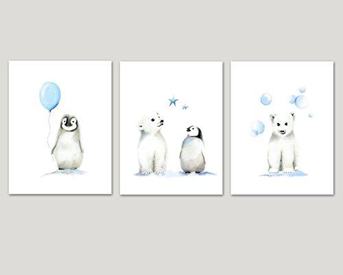 (Penguin and Polar Bear Nursery Art, Set of 3 Arctic Animals, Balloon and Stars, Various Sizes Available, UNFRAMED PRINTS)