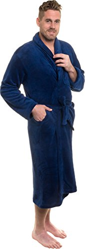 Ross Michaels Mens Plush Shawl Collar Kimono Bathrobe Robe (Navy, S/M)