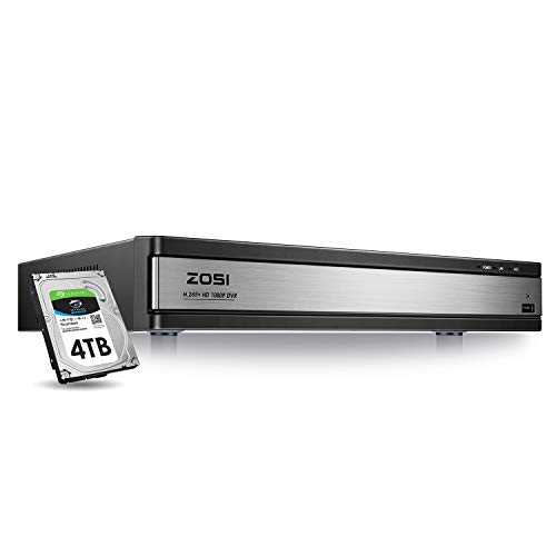 ZOSI Full 1080p H.265+ 16 Channel DVR for Security Camera with Hard Drive 4TB, Hybrid 4-in-1 CCTV DVR Surveillance System(Analog/AHD/TVI/CVI),Motion Detection,Mobile Remote Control,Email Alarm