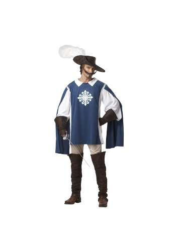 Musketeer Male Adult Costumes (California Costumes Musketeer Set, Blue/White, Medium)