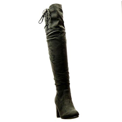 Angkorly - Zapatillas de Moda Botas Altas Botas cavalier sexy flexible mujer nodo cordones Talón Tacón ancho alto 8.5 CM - Gris