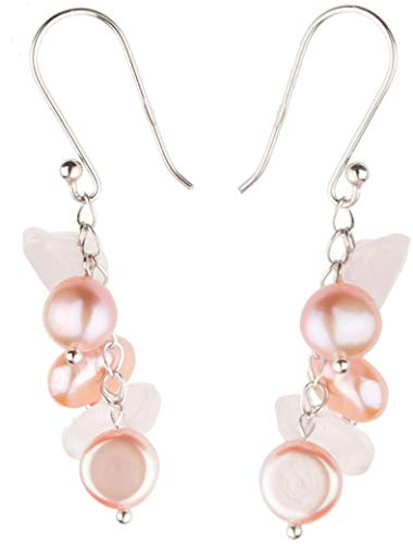 - HinsonGayle Handpicked Freshwater Cultured Pearl & Rose Quartz Dangle Earrings Sterling Silver
