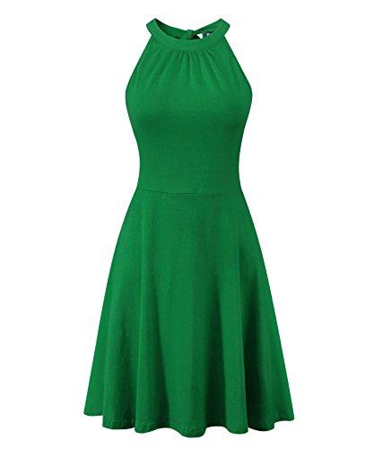 Green Dress Casual Summer BIKATU Off Sundress Shoulder Women's Sleeveless Halter qx7fw14