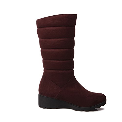 Boots Calf Heel BalaMasa Solid Suede ABL09726 Round Mid Womens Brown Pull Toe Low on w1qxPqgEIT