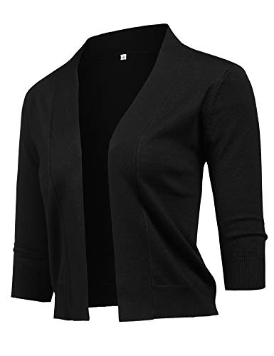 URRU Womens Bolero Open Front Cardigan 3/4 Sleeve Solid Versatile Shrug Crop Tops White Black ()