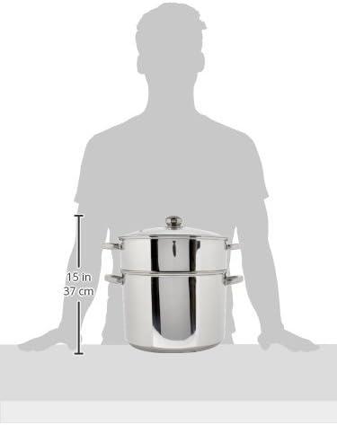 Kamberg - 0008074 - Couscoussier / Cuit Vapeur / Faitout 3 en 1 -Diamètre 30 cm - 15 Litres - Acier Inoxydable Haute Qualité - Couvercle en verre - Tous feux dont induction