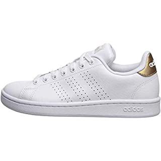 adidas Women's Cloudfoam Advantage Cl Sneaker, White/White/Copper Metallic, 7