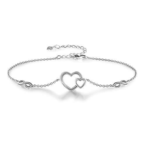 925 Sterling Silver Adjustable Bracelet for Women Infinity Love Heart Charm Bracelets Gifts for Women Girls Girlfriend (Bracelet Charms Heart)