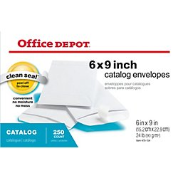 Office Depot Clean Seal(TM) Catalog Envelopes, 6in. x 9in., White, Box Of 250, 77919