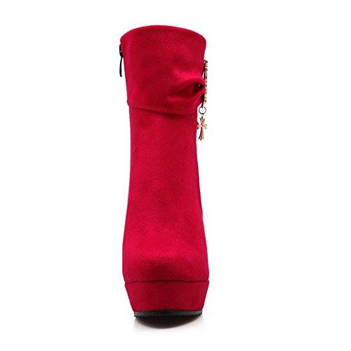 BalaMasa Girls Glass Diamond Metal Ornament Zipper Imitated Suede Boots Red Zzo1ma66rR