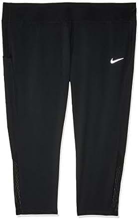 Nike Women's Racer Running Crops (Plus Size) 3/4 Length Tight AH8418-010, Black/Black, 1X