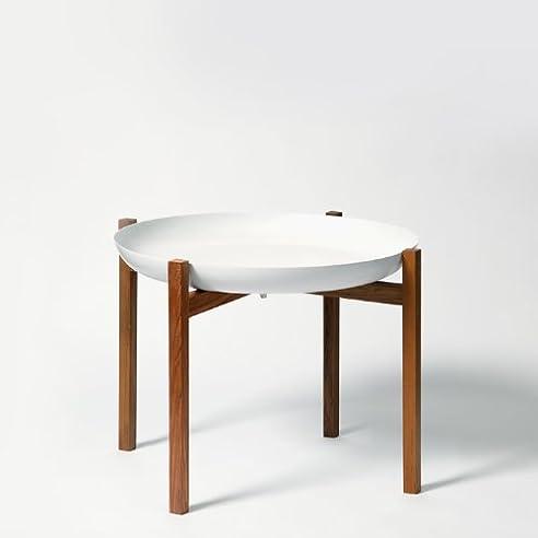 Tablo Tray Table Beistelltisch Weiss Teak Natur Low Design House Stockholm