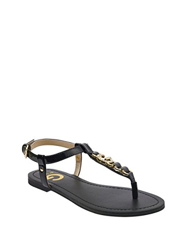 G by GUESS Women's Lexann Buckle Rhinestone Logo T-Strap Sandals Black (Guess Sandals Patent Leather)
