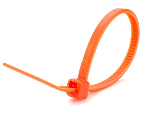 4 Inch Fluorescent Orange Miniature Nylon Cable Tie - 100 Pack