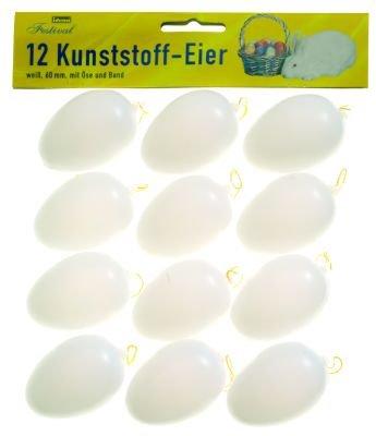 KUNSTSTOFFEIER 12ER weiß 6 cm, Ostereier