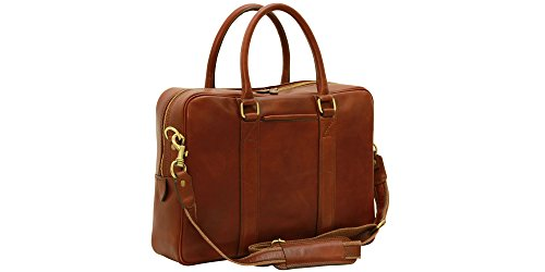 Anglers Briefcase Bag (Handmade Italian Soft Calfskin Leather Briefcase (Brown))