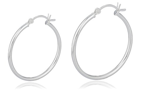 Real 925 Sterling Silver 1.25 Inch and 2 Inch Hoop Earrings Set [Jewelry]