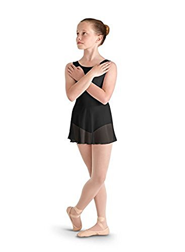 Bloch girls Bow flock mesh shoulder and back skirted tank leotard , Black, Size 8-10 (Bloch Tank Leotard)