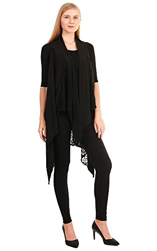 chicchicfashionworld CCFW Sleeveless Cotton Drapey Shawl Scarf Multi Lace Vest (Black)