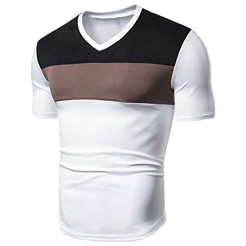 iHPH7 Tees Men Vintage Short Sleeve t Shirt Men Basic tees Men Shirt Men Casual Fashion Men Fit Patchwork Short Sleeved T-Shirt Tops Blouse XXXL 3- White ()