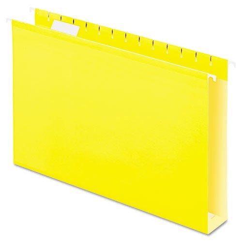 Pendaflex Reinforced 2 inch Extra Capacity Hanging Folders, 1/5 Tab, Legal, Yellow, 25/Box