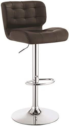 Upholstered Adjustable Bar Stools Chrome and Brown Set of 2