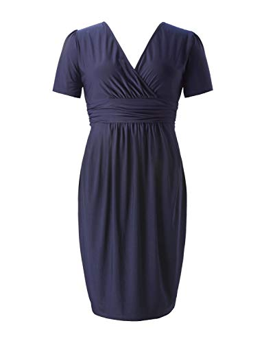 Cocktail Stretch Dress Size Party Sheath Dress Plus Length V Neck Women's Casual Solid Ruched Knee Navy Chicwe CR6wpqBq