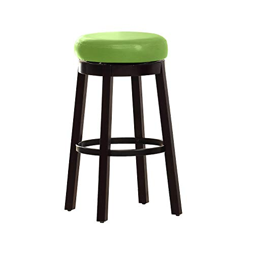 Furniture of America Barthe Leatherette and Wood Swivel Bar Stool, Green, Set of 2