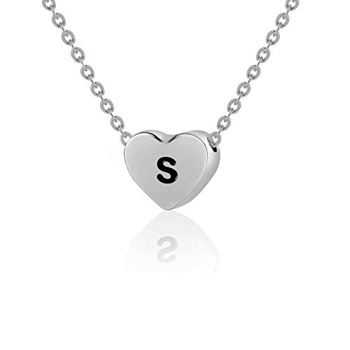 WIGERLON Initial Letter Heart Necklace:Stainless Steel 925 Silver Plated for Women and Girls from A-Z Letter S ()