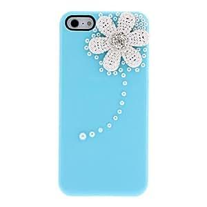 TY-Diseño Crisantemo fresco con diamantes y perlas caja cubierta dura con el adhesivo del clavo para el iPhone 5/5S (colores surtidos) , Amarillo