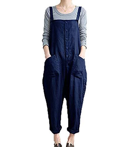 - Women's Casual Jumpsuits Overalls Baggy Bib Pants Plus Size Wide Leg Rompers (Y-Blue, S)