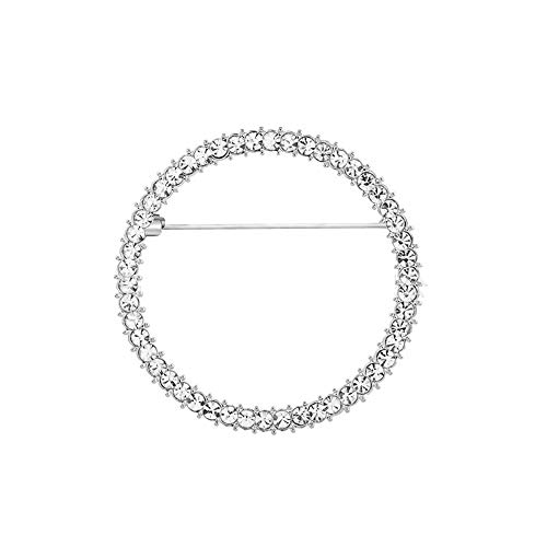Elegant Geometry Circles Rhinestones Brooch for Women Girl Shawl Scarf Buckle Jewelry Men Suit Brooch Pins (Silver)